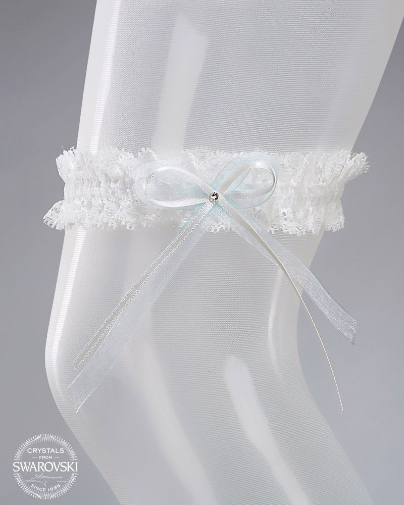 ivory/blue lace bridal garter, swarovski crystal lace wedding garter